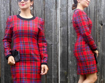 Vintage 80s plaid dress  / Holiday dress / Red plaid dress / Pinup dress / Size S