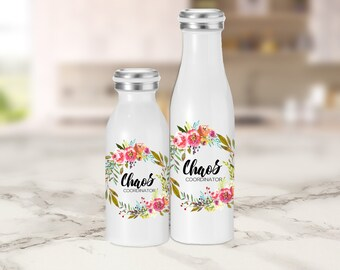 Water Bottle - Chaos Coordinator - Mug, Tumbler, and Water Bottles - Mom or Teacher Gift - Teacher Appreciation, Mother's Day, Holiday Gift