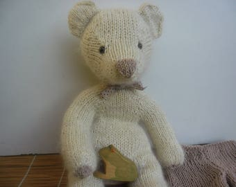 Plush Toy bear hand knitted White Lily