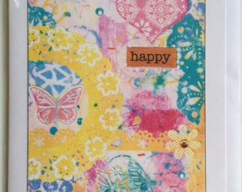 Happy - A5 Blank Greetings Card From Original Mixed Media Painting