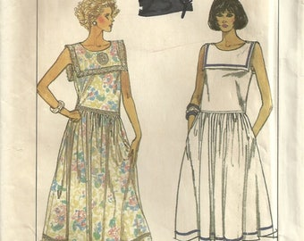 Vintage Simplicity 8008 Ahoy Matey Misses Vintage Sailor Collar Drop Waist Dress Sewing Pattern Size 6 - 8 - 10 - 12 Easy to Sew