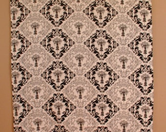 """Upholstery Fabric Chandelier Print 55"""" wide x 80"""" long black and white"""