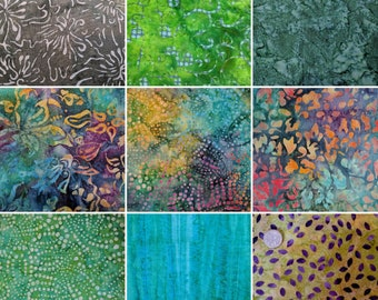 20 x Batik Fabric Quilting Craft Sewing Layer Cake 10' Squares Going Green