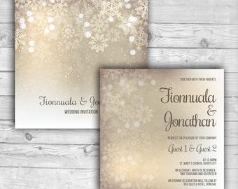 Christmas Snowflakes Wedding Invite 2