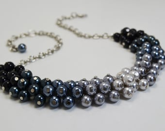 Pearl necklace, Gray and Black Ombre Cluster Necklace, Shades of Black and Gray Bridal Jewelry, Wedding Necklace, Ombre Pearl Necklace.