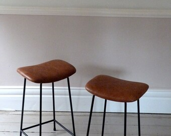 Pair of 1960s Tan Leather Counter Stools