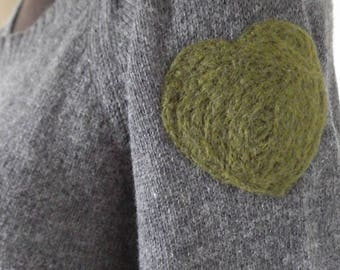 Refashioned Sweater - extra-large, wool blend, grey sweater with needle felted green hearts