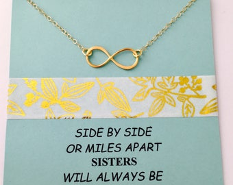 Sisters Necklace, Infinity Necklace, Gold Infinity Necklace, Sister Gift, Gold Filled Infinity, Long Distance Necklace, Sistet Gift