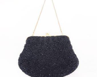 50s 60s Black Hand-Beaded Evening Handbag - Hong Kong