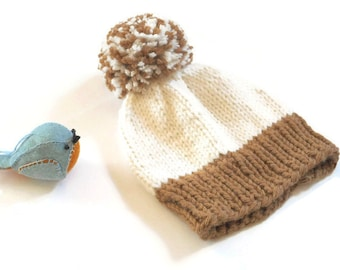 Knit Baby Hat/Hand Knitted Baby Hat/Pom Pom Hat/ Babies Winter Hat/Baby Shower Gift/Baby Beanie/3-6 mos.