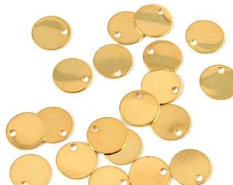 Brass charm - flat, circular (8mm) - Gold - PENM16OR309