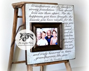 Personalized Grandparents Picture Frame, Grandparents Gifts, Nana, Papa, Grandma, Grandpa, Grandmother, Grandfather 16x16 Thank You