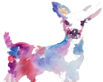 Abstract Deer Print, Watercolor Deer Print, Watercolor Painting of Deer, Baby Deer Painting, Baby Deer Watercolor, Nursery Art, Baby Animal