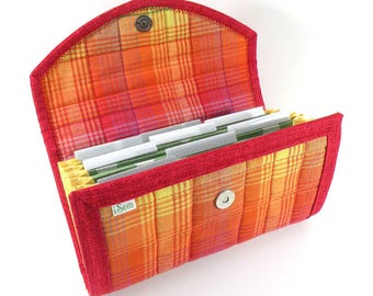 COUPON / EXPENSE / RECEIPT Organizer - Rainbow Plaid - Coupon Organizer Cash Budget Receipt Organizer Organiser