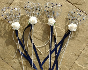 Flower Girl crystal heart wand, any colour