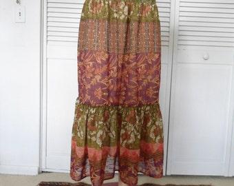 Broomstick Skirt Bohemian Clothes Maxi Skirt Vintage Clothes Hippie Skirt Boho Clothes Layered Skirt Mori Girl