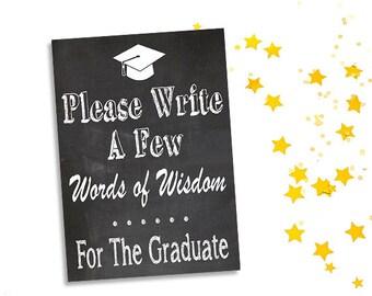 Druckbare Graduierung Worte der Weisheit Zeichen, vertikale Tafel Zeichen, DIY-Grad-Partei-Dekor, 5 x 7 und 8 x 10