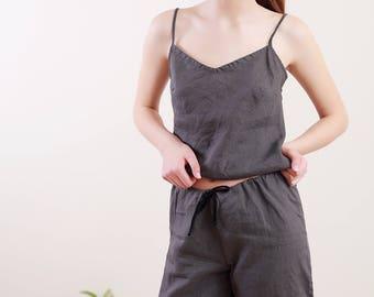 Linen Pajama Set For Women/ Linen Cami and Shorts / Linen underwear/ Summer Flax Pajama/ Organic Sleepwear
