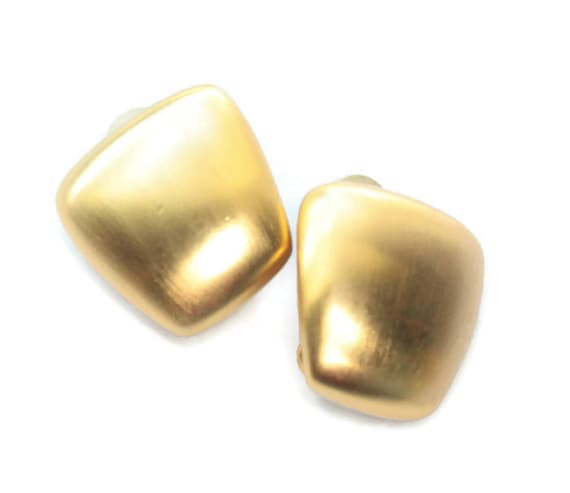 Gold Tone Matte Finish Earrings Modernist Trapezoid Shape Clip On Style