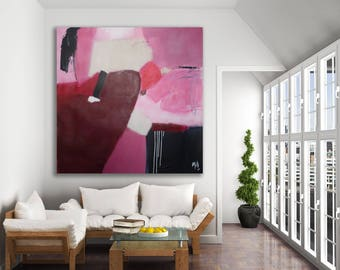 Pink Abstract Painting / Original Art / XL Pink Painting / Magenta Painting / Large Abstract Art