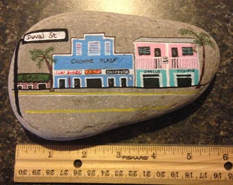 Duval Street Key West FL handpainted River Rock