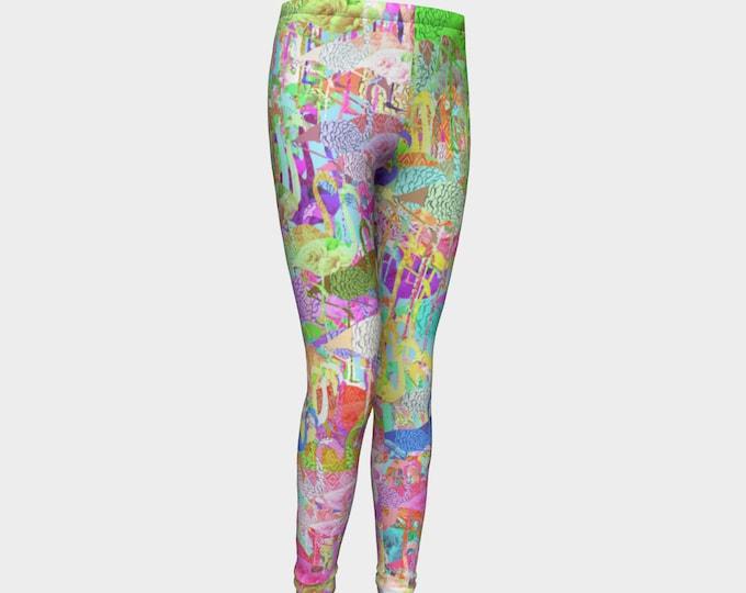 Girls Leggings, Flamingos Leggings, Flamingos, Girls Yoga Leggings, Leggings, Girls Clothes, Dance Leggings, Girls Yoga Pants, Gift for Girl