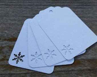 White Snowflake gift Tags: 5, 12 or 100 White Glitter Cardstock Gift Tags with Snowflake cut outs, 3 inch birthday party favor, Baby Shower