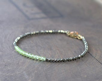 Delicate Pyrite & Peridot Beaded Bracelet, Sterling Silver or Gold Filled Skinny Bracelet, Green Gemstone August Birthstone Peridot Jewelry