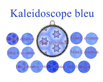 Blue Kaleidoscope print of digital images for cabochon 25mm and 20mm and 18mm