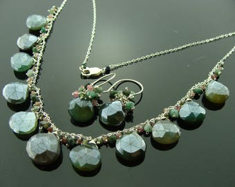 Dark Green Chalcedony and Watermelon Tourmaline 925 Sterling Silver Earrings and Necklace Set