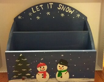 "Wooden handpainted mail sorter/card and envelope holder - dark blue with snowmen and ""Let it Snow"" at the top"