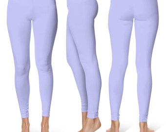 Periwinkle Leggings, Mid Rise Waist Workout Pants for Women, Yoga Leggings