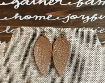 Leather hand-embroidered gold stitch earrings