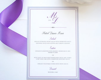 Purple and Gray Wedding Menu Cards - Purple Menu Card, Purple Wedding Menu, Dinner Menus, Monogram Wedding Menu - DEPOSIT