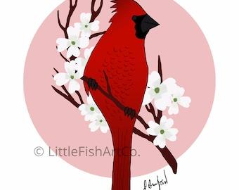 Virginia Cardinal and Dogwood Print