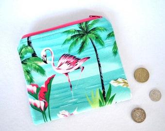 Pink flamingo coin purse, tropical pouch, aqua small change zipper bag