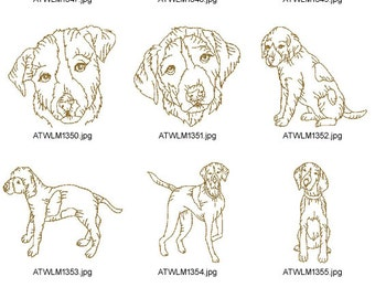 DOG-BREEDS-Pointers-Redwork ( 10 Machine Embroidery Designs from ATW )