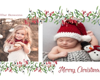 Christmas Photo Card With Holly- Made to Order