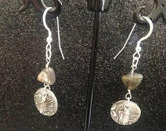 99.9% Fine Silver and Labradorite Earrings, Dangly Earrings, Drop Earrings, Boho, Gypsy, Jewelry gifts under 50, Ready to ship