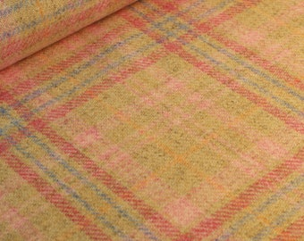 Natural Dogswood Wool Plaid Fabric - per metre