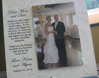 Thank You Parents Wedding Frame,  Thank You Parents Gift, Thank You Parents Wedding Gift, 4 x 6 photo. Saying and Paper Choice