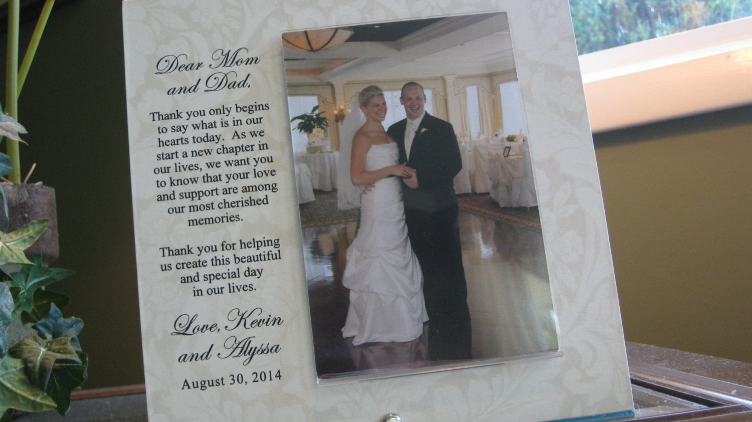 Thank You Parents Wedding Gift Personalized Parents Picture Frame