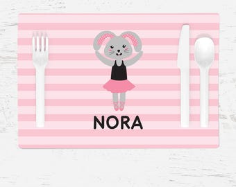Ballerina Bunny Placemat - Children's Placemat - Personalized with Child's Name - Custom Placemat for Kids