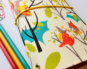 Fabric Travellers Notebook Complete with Notebooks. Fauxdori. Journal - Woodland Owl print