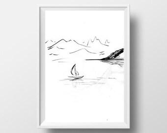 Articles Similaires A Lac De Montagne Simple Peinture Sumi Blanc