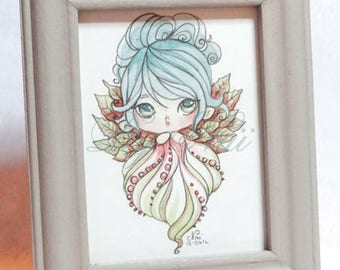 Mini watercolor in a frame of leafy fairy manga style