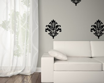 Vinyl Wall Decal Damask - Damask Wall Decal - Vinyl Damask 0038