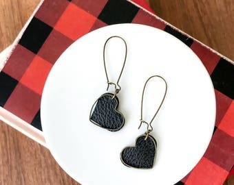 Gold heart earrings // leather heart // vintage bronze heart // love earrings // dangle heart earrings // gift for her //anniversary earring