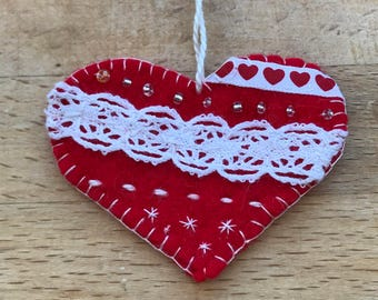 Pretty little felt love heart Valentine's hanging decoration