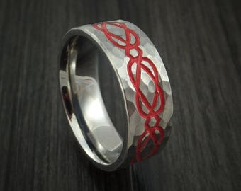 Titanium hammered celtic irish claddagh band with red cerakote any size ring